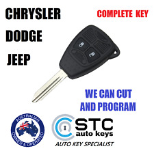 JEEP CHRYSLER DODGE REMOTE TRANSPONDER CHIP KEY COMPLETE FOB KEYLESS 2 BUTTON 3