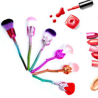 6PCS Rose Flower Shaped Makeup Brushes Set Foundation Soft Face Blush Brushes