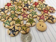 Wooden Star Buttons 20mm Aussie Seller