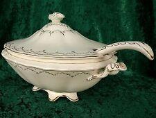 """Vintage rare myott fils & co 14"""" couvercle ovale soupière + louche or semi-porcelaine"""