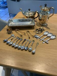 Sliverplated/ Sterling Spoons Tongs Coffee Teapot