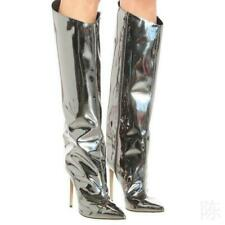 Sexy Women Metallic Mirror Patent Leather High Heel Knee High Boots Side Zipper