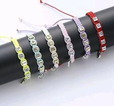Handmade Rope Personalised Custom Letter Name Bracelet Chain Gift Pink Purple