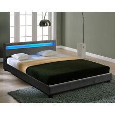 CORIUM® LED Textile Grand lit sommier tapissier 180x200cm cadre lit tissu