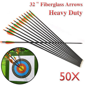 "50x 32"" FiberGlass Arrows Archery Hunting Compound Bow Fiber Glass AU"