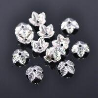 50pcs 9mm Flower Tibetan Silver Metal Loose Spacer Bead Cap Jewelry Findings DIY