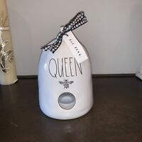 "Rae Dunn ""QUEEN BEE"" Bee Hive Birdhouse White Ceramic Black Gingham Ribbon NEW"