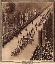 CORONATION 1937. Avenue of Banners. State coach on The Mall 1937 old print