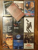 70's 80's Rock Cassette Lot Of 10 Van Halen Clapton Eddie Money Top Gun Stewart