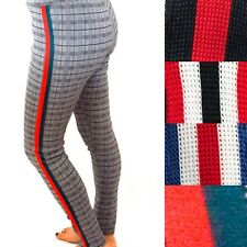 Womens Multi Checked Print Side Striped Leggings Ladies High Waist Jeggings Pant
