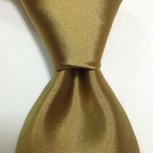 "BROOKS BROTHERS Men's 100% Silk XL 60 1/2"" Necktie USA Designer SOLID Gold EUC"