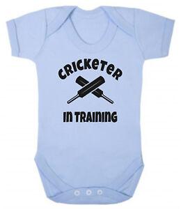 Cricketer In Training Soft Pale Blue Cotton Baby Bodysuit Vest Cricket Dad