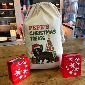 Personalised Dog Santa Sack Brindle French Bulldog - Pepe Design