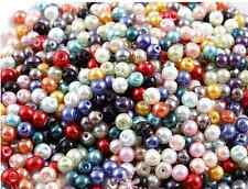 50Pcs 8mm Mixed Color Czech Glass Pearl Spacer Loose Beads DIY Jewelry Making