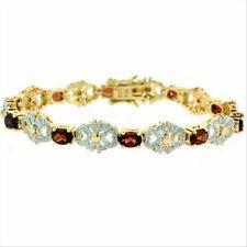 18K Gold over 925 Silver 5&1/2ct Garnet & Diamond Accent Filigree Bow Bracelet