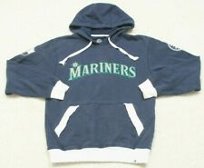 Majestic Mariners Blue Hooded Sweatshirt Top Hoodie Size Small Cotton Poly MLB