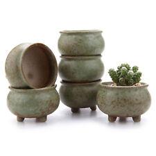 """6 Pcs T4U 3"""" Ceramic Tripod Succulent Cactus Plant Pots Set Collection Pack of 6"""