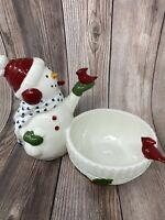 Williams Sonoma Sculptural Ceramic Snowman Bowl Christmas Candy Dip Serving Dish