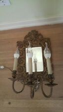 Antique vintage French Brass Wall Sconce 3 Light Fixture