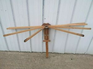 Antique Wooden FAVORITE CLOTHES DRYER 8 Arm Wall Mount