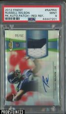 2012 Topps Finest Red Refractor Russell Wilson RPA RC Patch AUTO /50 PSA 9