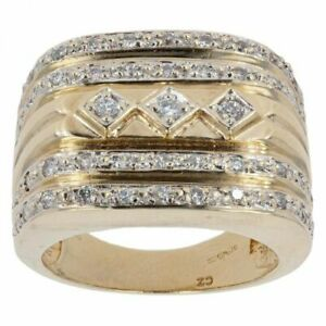 Gents - 9ct Yellow Gold Cubic Zirconia Signet Ring - Y