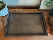 Vintage Hand Made 1930s Dark Wood Simple Tray