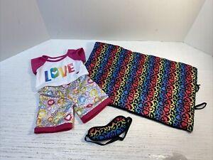 Build a Bear Workshop BABW  Rainbow Leopard Sleeping Bag w Sleep Mask + Pajamas
