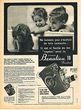 PUBLICITE ADVERTISING 045  1958  BEAULIEU   T 8   caméra  chat