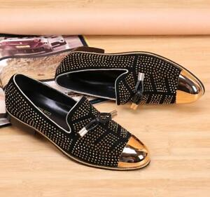Men Casual Flats Rhinestone Stylish Metal Toe Brogue Slip On Leather Party Shoes