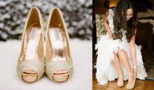 Women's BADGLEY MISCHKA Silver Glitter Metallic HUMBIE II Open Toe Heels Size 7