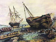Gouache signée Corinne paysage marin bateaux Marine