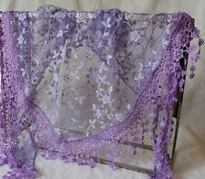 Women Fashion Silk Flowers Lace Tassel Sheer Long Scarf Wrap Shawl Scarves