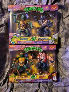 PLAYMATES Leonardo VS Rocksteady & Michaelangelo V Bebop TMNT 2 Pack LOT 4 NEW