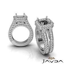 Diamond Engagement Pave Ring Platinum 950 Asscher Split Shank Semi Mount 2.52Ct