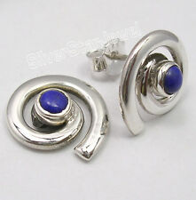 "925 Sterling Silver Rare NAVY BLUE LAPIS LAZULI SPIRAL STUD POST Earrings 0.6"""