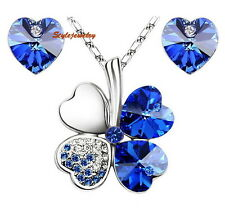 White Gold Plated Blue Four Leaf Clover Set Made With Swarovski Crystal N148XE28