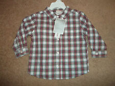 Brand new w/tags Kola Kids 18 mon.long sleeve red plaid shirt button down collar