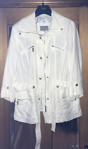 PER UNA MARKS & SPENCER LADIES WHITE ZIPPER FRONT 3/4 STUDDED SLEEVES SIZE 12