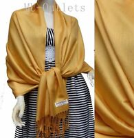 New Soft Classic 100% Pashmina All Season Solid Shawl Scarf Stole Wrap Golden