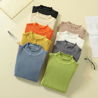 Women Knitted Sweater Tops Long Sleeve Turtleneck Jumper Slim Pullover Knit  gt