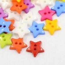 LOT de 50 BOUTONS ETOILES STARS 2 TROUS acrylique 12mm multicolores tricot