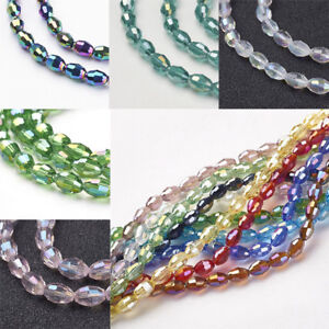 10 Strands AB Color Plated Faceted Oval Electroplate Glass Beads Crafts hole 1mm