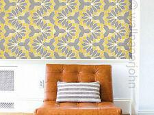 Grey Yellow & Cream With Silver Glitter Retro Design Soft Feel Wallpaper A4 Sample