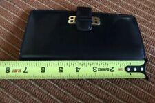 Bally women wallet black leather bifold gold hardware in good shape