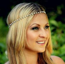 Fashion Women White Pearl Elastic Headband Head Chain Piece Hair Band Jewelry