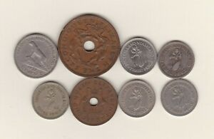 EIGHT RHODESIA & NYASALAND COINS 1956 TO 1964 IN FINE OR BETTER CONDITION.