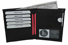 Leather Large Hipster Bifold 7 Credit Card ID Black Men's Wallet 502BK