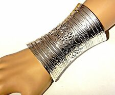 ORNATE SILVER CUFF wide metal gauntlet Ethnic bohemian wonder woman bracelet 1Z