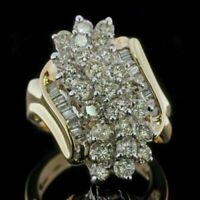 HUGE Estate 1.50 Ct Diamond Cluster Statement Cocktail Ring 14K Yellow Gold Fn